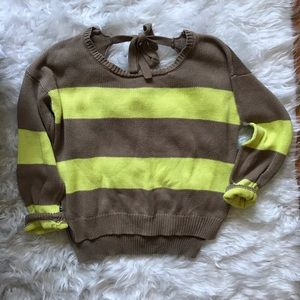 NEON YELLOW KNIT SWEATER WITH OPEN BACK